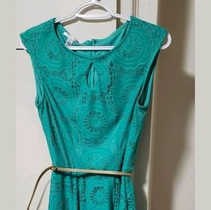 Teal Knee Length Dress With Small Leather Belt